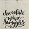 "Canvas Tote - Shopping - ""Chocolate Wine Snuggles"" - Free Postage"