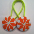28mm Orange fabric button hairties