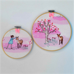 Little deer hoop art pair