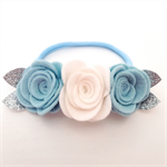 """Willow"" felt flower & nylon headband in pale blue, white and silver"