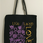"Canvas Tote - Shopping - ""Live Laugh Love"" - Glitter - Free Postage"