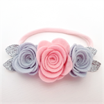 """Lillian"" felt flower & nylon headband in pale pink, light grey and silver"