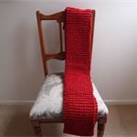 Cowl: infinity scarf , Knitted, Red, Acrylic, warm, machine washable