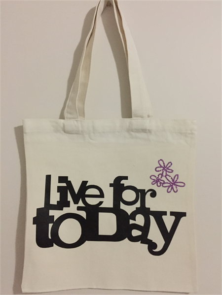 Canvas Tote - Shopping - Live For Today - Free Postage