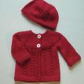 Hand Knit, Newborn, Wool, Cardigan & Hat, Pink Red