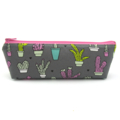 Cactus on Grey Pencil Case  - Pencil Pouch - Zip Pouch - Small Bag