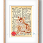 WATERCOLOUR CAT on vintage dictionary page home decor DIGITAL print wall art