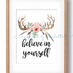BELIEVE IN YOURSELF wreath home decor DIGITAL print wall art