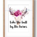 TAKE THE BULL BY THE HORNS SKULL home decor DIGITAL print wall art