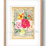 WATERCOLOUR FLOWERS vintage dictionary page home decor DIGITAL print wall art