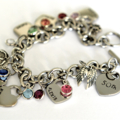 Charm Bracelet, Gift For Mother, Hand Stamped Jewellery, Family Bracelet, 50th