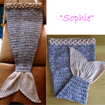 """Crochet Mermaid Tail Blanket """"Sophie"""" Adult size, others available,Pink/Purple"""