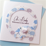 Oh Baby welcome to the world newborn boy elephants blue grey keepsake lush card
