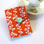 Tea Bag Wallet  / Travel Tea Purse - White Vines on Orange
