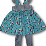 SIZE 1 Blue Owls Grace Dress With Silver Leggings
