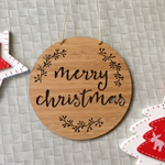 Merry Christmas Wooden Bamboo Door / Wall hanging