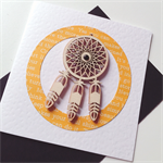 Wooden dreamcatcher laser cut yellow friend blank him her card