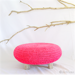 Pink Driftwood Crochet Ottoman Footstool Pouffe Table Kids Home Decoration