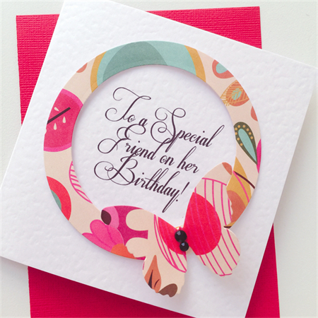Happy Birthday special friend bright pink funky butterfly pink teal mocha card
