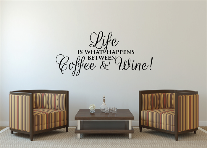 Wall Sticker Quote Life Coffee And Wine Funny Wall Decal