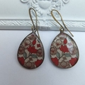 Red and Taupe Foliage Print Earrings