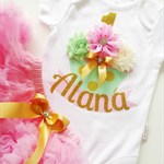 1st Birthday Outfit Pink, Mint & Gold Cupcake 1st Birthday Design