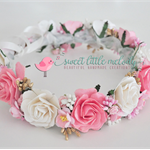 Bridal Flower Crown, Pink & White Floral Crown, Bride Floral Headband