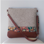 Gorgeous Felt and Tan Leather Tote