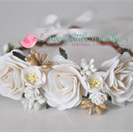 White and Gold Flower Crown, Bride Headband, Bride Headpiece, Flowergirl Crown