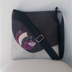 Cream Leather Dark Grey Fabric Tote