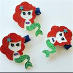 """Little Miss Mermaid"" glitter & felt mermaid hair clip or headband"