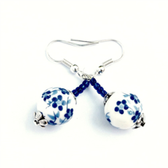Blue & White Flower Ceramic Earrings