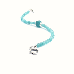 Pale Blue Gemstone and Sterling Silver Bracelet
