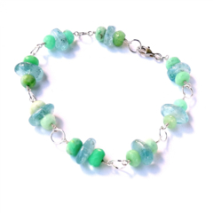 Aquamarine Chrysoprase and Sterling Silver Bracelet
