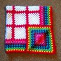Crochet Baby Blanket rainbow edge 95cm x95cm