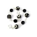 Black Onyx and Dzi Style Agate Bracelet