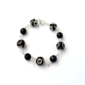 Black Onyx and Dzi Style Agate Bracelet