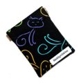Medium Pouch with Flexible Frame Opening - Cat Fabric