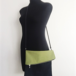 Large Soft Cross Body Handbag - Dark Blue Denim and Green