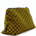 Medium zippered pouch in black and yellow.