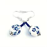 Blue & White Flower Ceramic Earrings