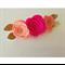 """Ava"" felt flower & nylon headband in peach, bright raspberry and gold"