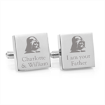 Star Wars – I Am Your Father  – Engraved square stainless steel cufflinks
