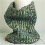 Cowl Merino Wool, 2 Colour Aqua Blue & Grey Soft Snug Reversible Hand Knitted