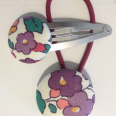 Liberty fabric button hair tie and clip set