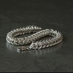 Sterling silver chainmaille chunky bracelet. Man's bracelet. Unisex bracelet.