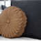 Tan Faux Leather Vintage Style round cushion