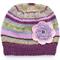 Girls Purple Lilac Pink Stripe Knitted Wool Beanie & Flower SIZE 6 7 8 9 10 11