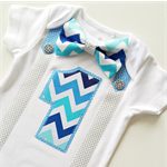 Boys First Birthday Party Silver, Blues & Aqua Chevron Bow Tie and Suspenders On