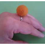 Felt Ball Adjustable Ring Cute Handmade Fibre Statement Ring - orange
